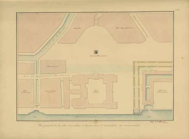 Место Александровской колонны на плане Дворцовой площади